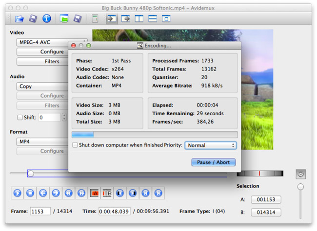 Avidemux editor para hacer vídeo para Mac
