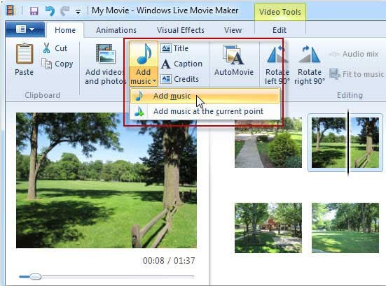 windows live movie maker add music