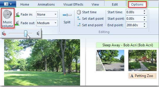 add music in windows live movie maker
