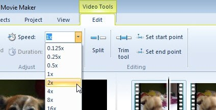 ajustar velocidad en windows live movie maker